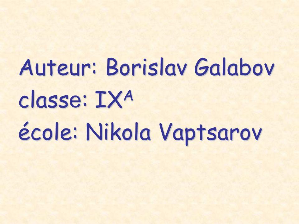 Auteur: Borislav Galabov class е : IX A école: Nikola Vaptsarov