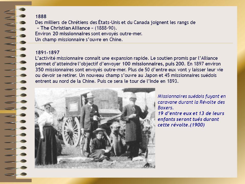Missionnaires suédois fuyant en caravane durant la Révolte des Boxers. 19 dentre eux et 13 de leurs enfants seront tués durant cette révolte.(1900) 18