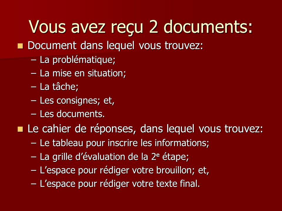 1 re étape… Parcourir les 2 documents…