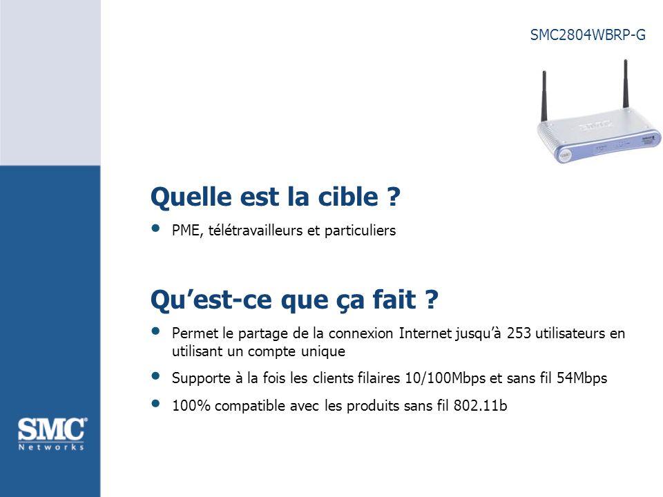 SMC2804WBRP-G Quelle est la cible . PME, télétravailleurs et particuliers Quest-ce que ça fait .