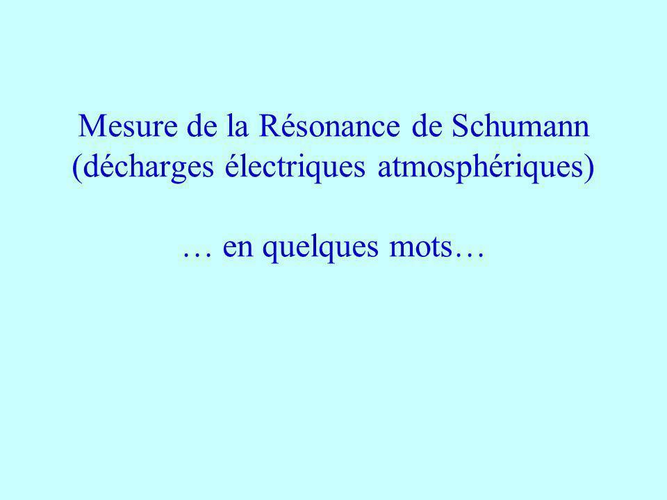 Mesure de la Résonance de Schumann (décharges électriques atmosphériques) … en quelques mots…