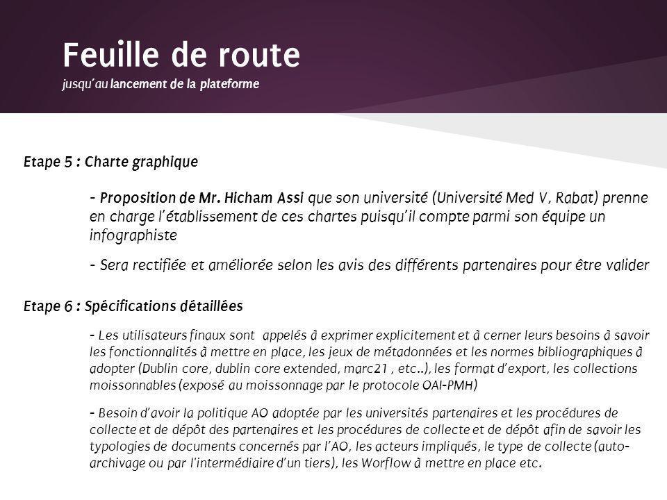 Etape 5 : Charte graphique - Proposition de Mr. Hicham Assi que son université (Université Med V, Rabat) prenne en charge létablissement de ces charte