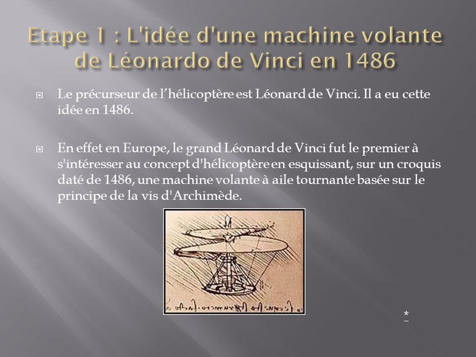 Le précurseur de lhélicoptère est Léonard de Vinci. Il a eu cette idée en 1486. En effet en Europe, le grand Léonard de Vinci fut le premier à s'intér