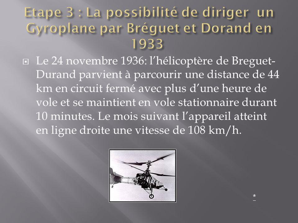 Le 24 novembre 1936: lhélicoptère de Breguet- Durand parvient à parcourir une distance de 44 km en circuit fermé avec plus dune heure de vole et se ma