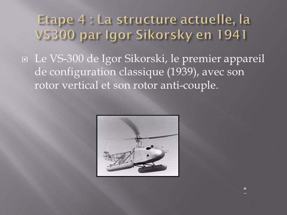 Le VS-300 de Igor Sikorski, le premier appareil de configuration classique (1939), avec son rotor vertical et son rotor anti-couple. *