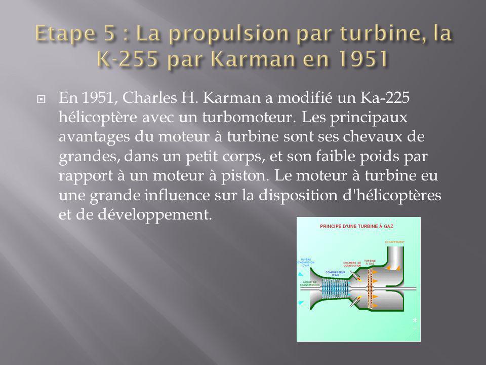 En 1951, Charles H. Karman a modifié un Ka-225 hélicoptère avec un turbomoteur. Les principaux avantages du moteur à turbine sont ses chevaux de grand