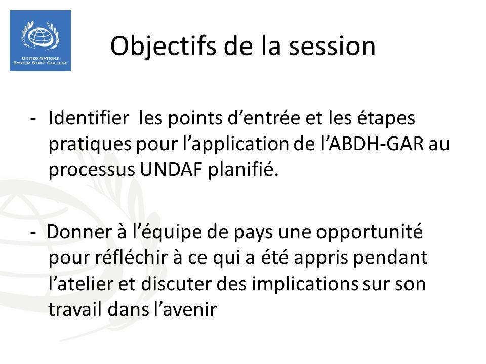 Objectifs de la session -Identifier les points dentrée et les étapes pratiques pour lapplication de lABDH-GAR au processus UNDAF planifié.