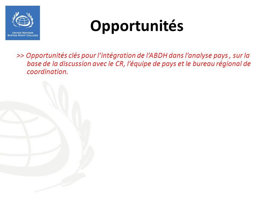 Opportunités >> Opportunités clés pour lintégration de lABDH dans lanalyse pays, sur la base de la discussion avec le CR, léquipe de pays et le bureau régional de coordination.