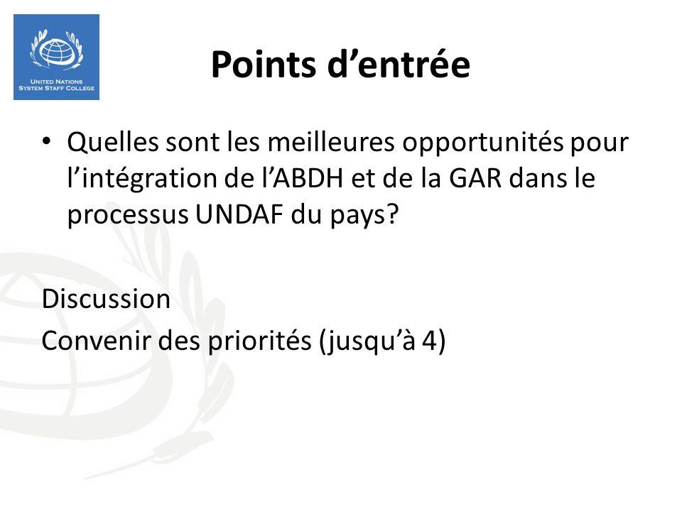 Points dentrée Quelles sont les meilleures opportunités pour lintégration de lABDH et de la GAR dans le processus UNDAF du pays.