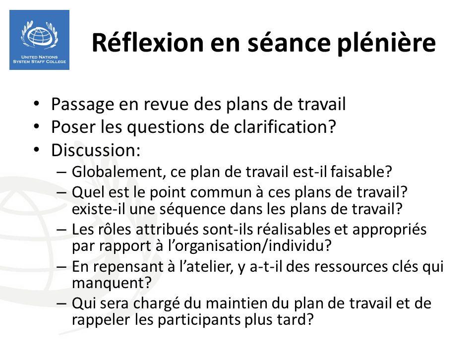 Réflexion en séance plénière Passage en revue des plans de travail Poser les questions de clarification.