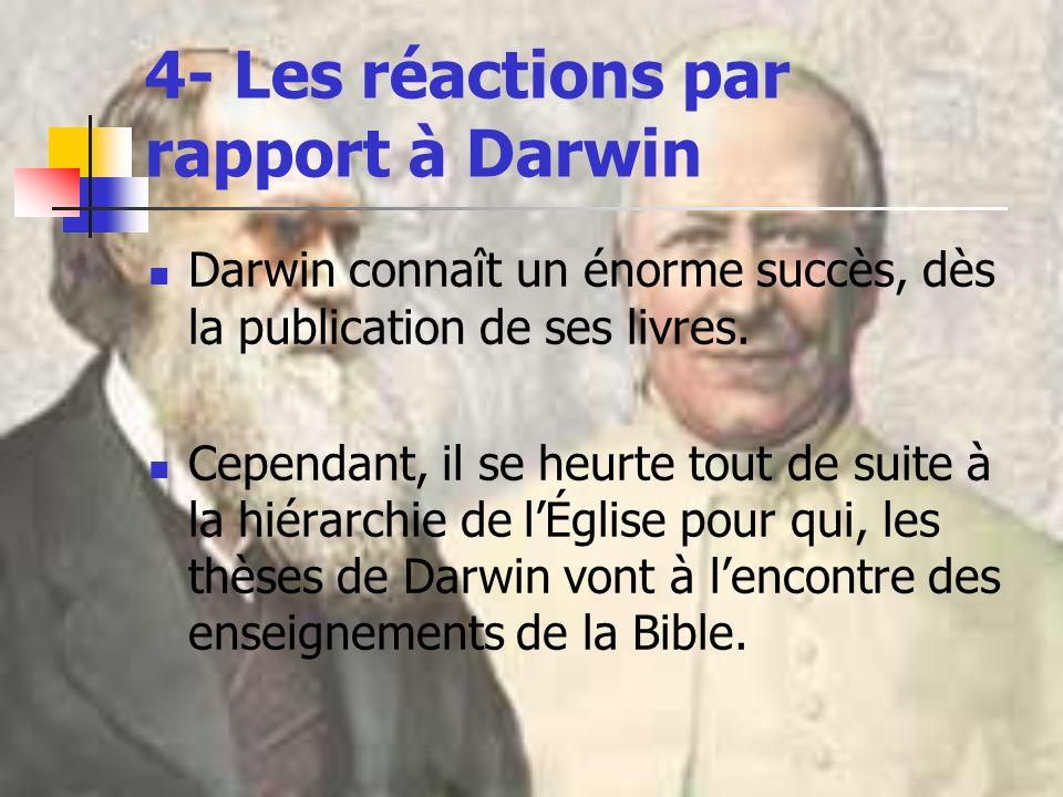 4- Les réactions par rapport à Darwin Darwin connaît un énorme succès, dès la publication de ses livres. Cependant, il se heurte tout de suite à la hi