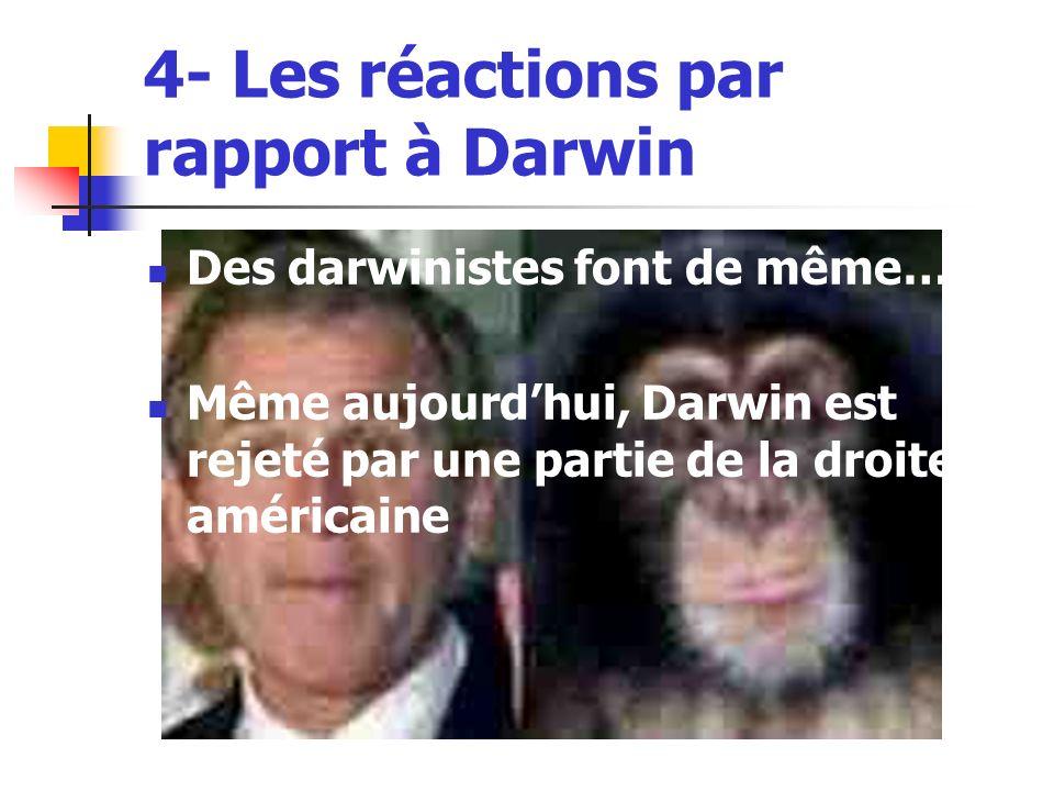 4- Les réactions par rapport à Darwin Des darwinistes font de même… Même aujourdhui, Darwin est rejeté par une partie de la droite américaine