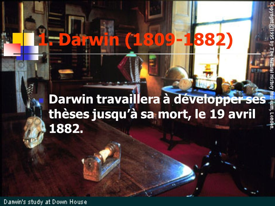 1. Darwin (1809-1882) Darwin travaillera à développer ses thèses jusquà sa mort, le 19 avril 1882.