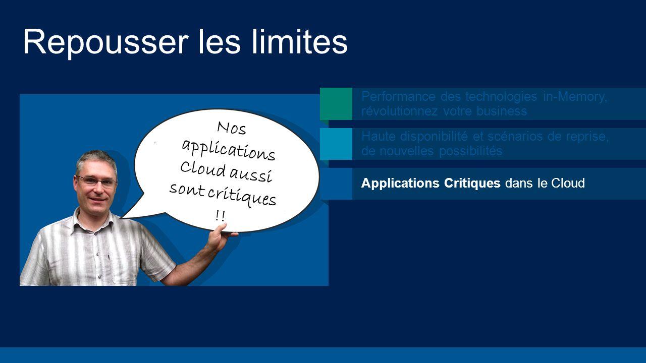 Repousser les limites Nos applications Cloud aussi sont critiques !! Performance des technologies in-Memory, révolutionnez votre business Haute dispon