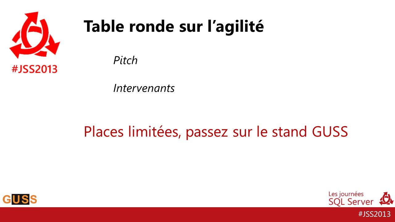 #JSS2013 Table ronde sur lagilité Pitch Intervenants Places limitées, passez sur le stand GUSS