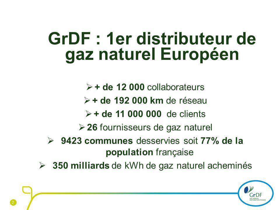2 GrDF : 1er distributeur de gaz naturel Européen + de 12 000 collaborateurs + de 192 000 km de réseau + de 11 000 000 de clients 26 fournisseurs de g