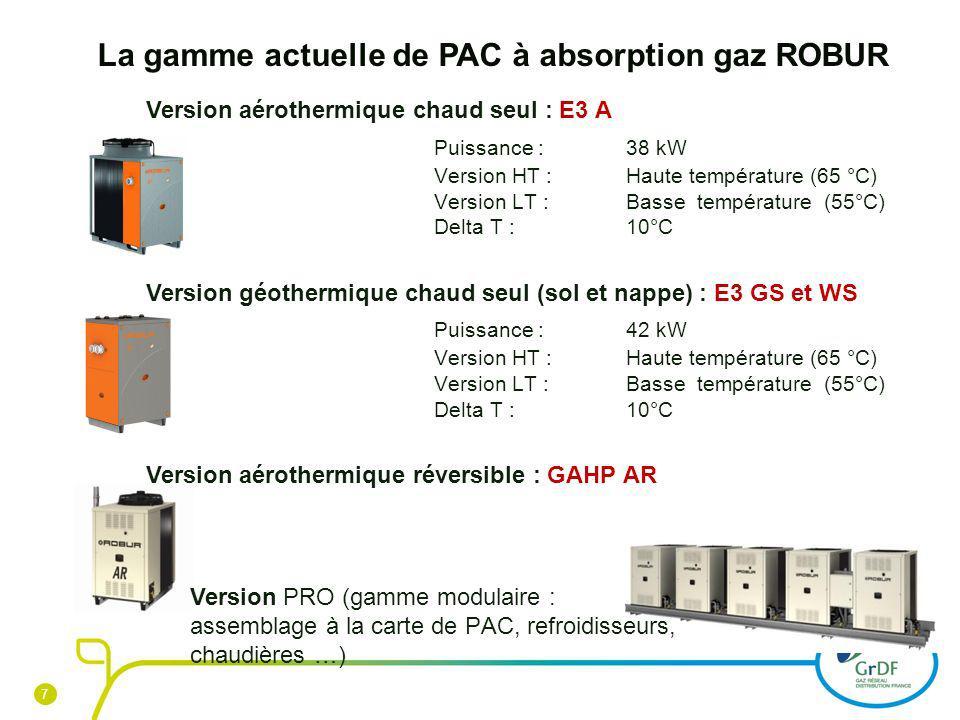 7 7 La gamme actuelle de PAC à absorption gaz ROBUR Version aérothermique chaud seul : E3 A Puissance :38 kW Version HT : Haute température (65 °C) Ve