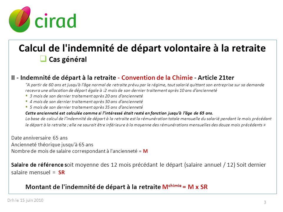 Calcul de l'indemnité de départ volontaire à la retraite Cas général II - Indemnité de départ à la retraite - Convention de la Chimie - Article 21ter