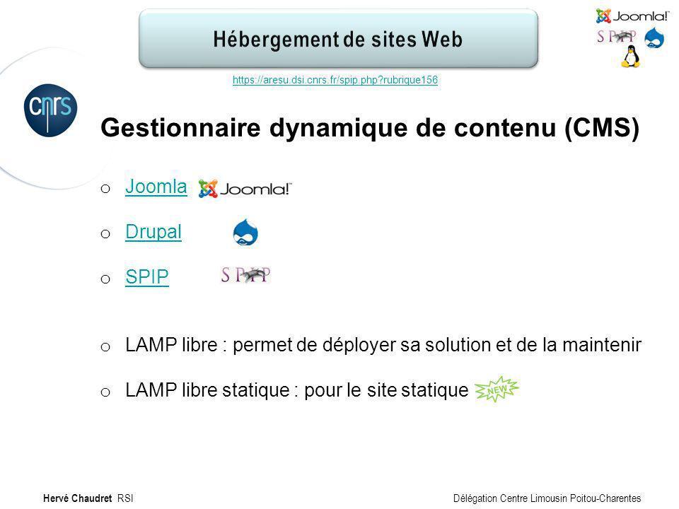 Hébergement de site Web : Configuration Gestionnaire dynamique de contenu (CMS) o Joomla Joomla o Drupal Drupal o SPIP SPIP o LAMP libre : permet de d