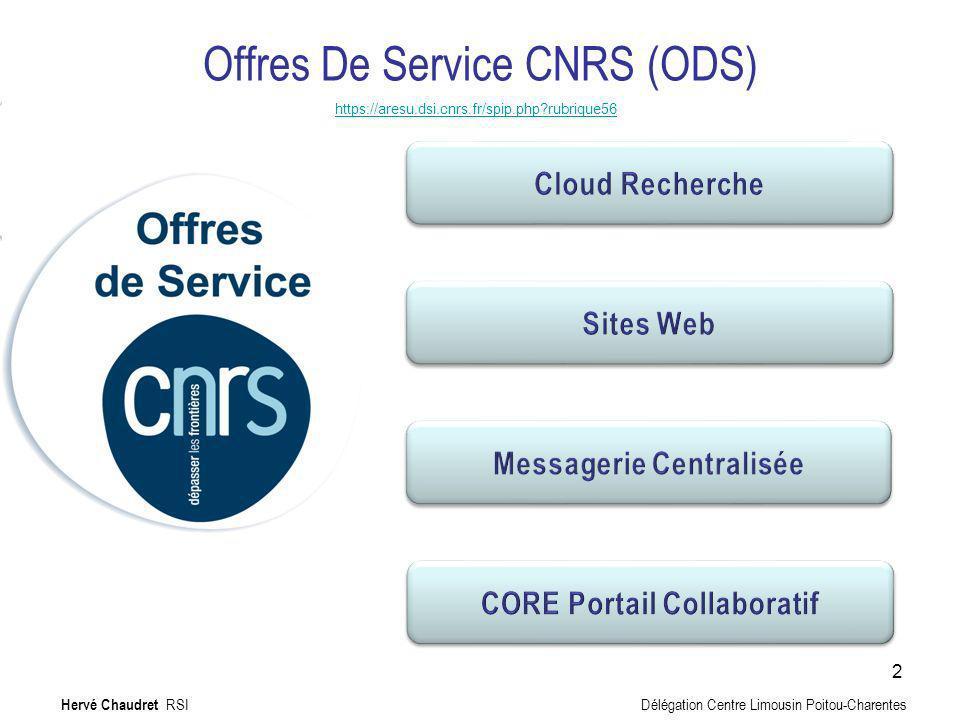 Offres De Service CNRS (ODS) https://aresu.dsi.cnrs.fr/spip.php?rubrique56 Jusquà 4 packs par unité Pack Standard 15,66 Premium 33,92 Jusquà 4 packs par unité Pack Standard 15,66 Premium 33,92 Jusquà un certain espace de stockage exemple : 100 utilisateurs = 320Go Jusquà un certain espace de stockage exemple : 100 utilisateurs = 320Go Achat de serveurs virtuels Tarif 47,82 212,71 Achat de serveurs virtuels Tarif 47,82 212,71 Jusquà 3 sites par unité total 9Go payant au-delà des 9Go Jusquà 3 sites par unité total 9Go payant au-delà des 9Go Les prix sont mensuels Hervé Chaudret RSI Délégation Centre Limousin Poitou-Charentes 3 NEW