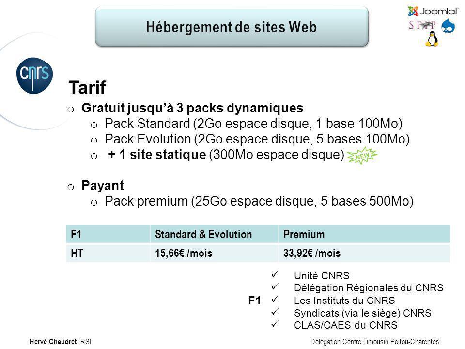 Hébergement de site Web : Tarifs Tarif F1Standard & EvolutionPremium HT15,66 /mois33,92 /mois Hervé Chaudret RSI Délégation Centre Limousin Poitou-Cha