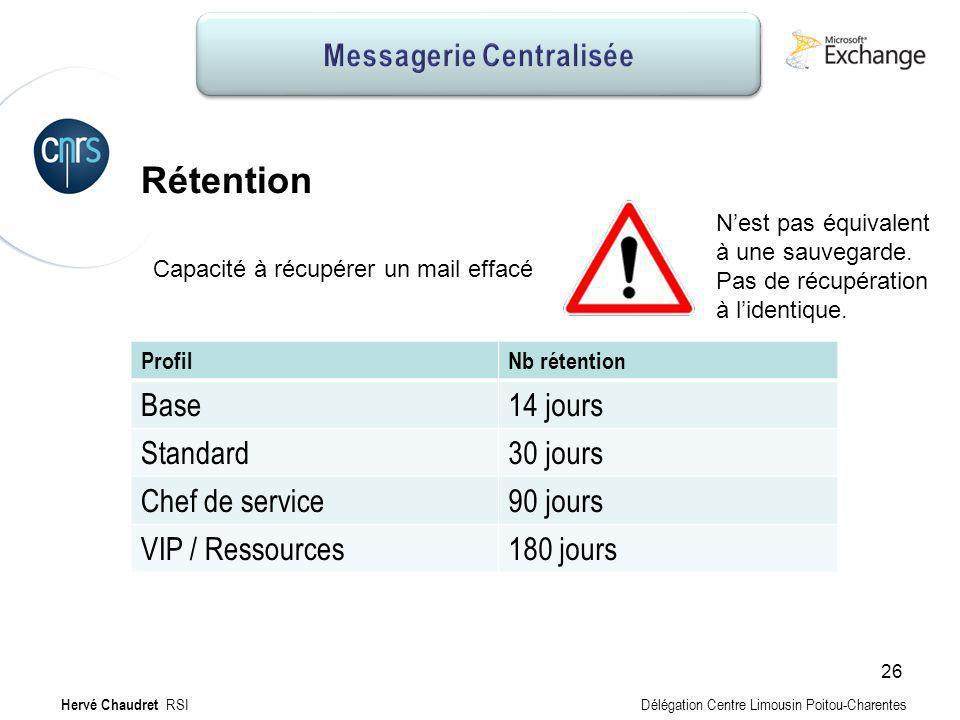 Messagerie Centralisée : Sauvegardes Rétention ProfilNb rétention Base14 jours Standard30 jours Chef de service90 jours VIP / Ressources180 jours Capa