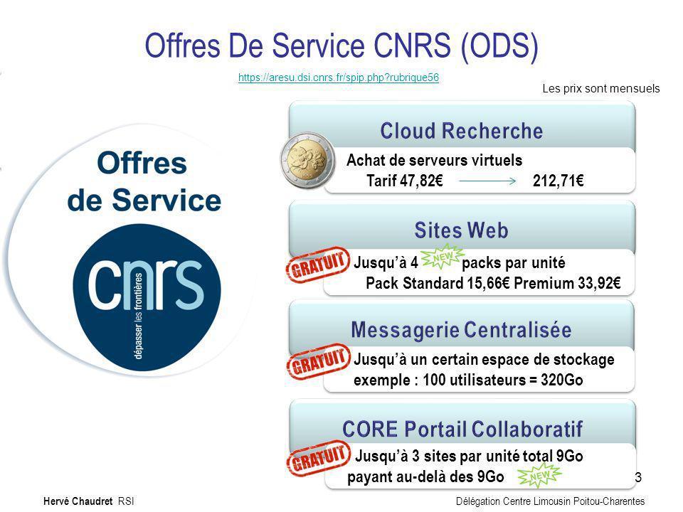 Offres De Service CNRS (ODS) https://aresu.dsi.cnrs.fr/spip.php?rubrique56 Jusquà 4 packs par unité Pack Standard 15,66 Premium 33,92 Jusquà 4 packs p