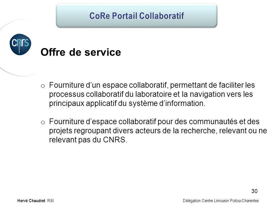 CoRe Portail collaboratif : Offre Offre de service o Fourniture dun espace collaboratif, permettant de faciliter les processus collaboratif du laborat