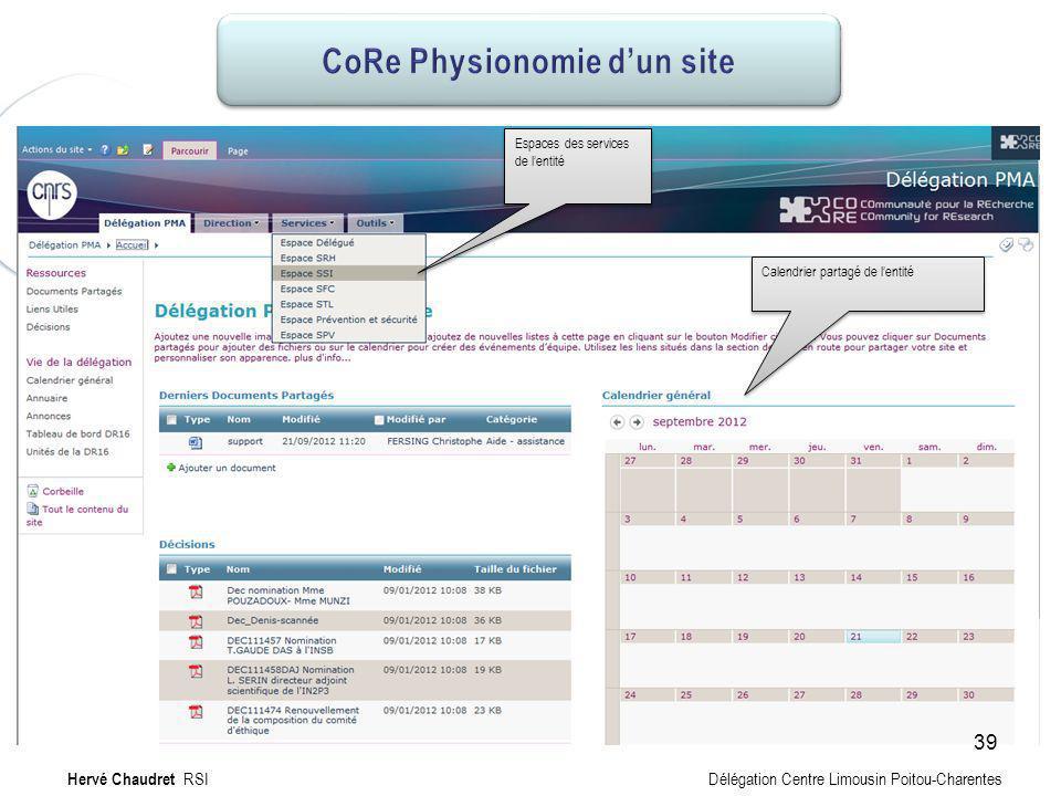 CoRe Physionomie de PMA Calendrier partagé de lentité Espaces des services de lentité Hervé Chaudret RSI Délégation Centre Limousin Poitou-Charentes 3