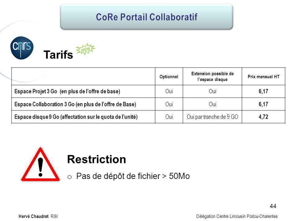 CoRe Portail collaboratif : Tarifs Hervé Chaudret RSI Délégation Centre Limousin Poitou-Charentes Restriction o Pas de dépôt de fichier > 50Mo Tarifs