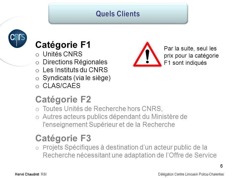 Clients potentiels Catégorie F1 o Unités CNRS o Directions Régionales o Les Instituts du CNRS o Syndicats (via le siège) o CLAS/CAES Catégorie F2 o To