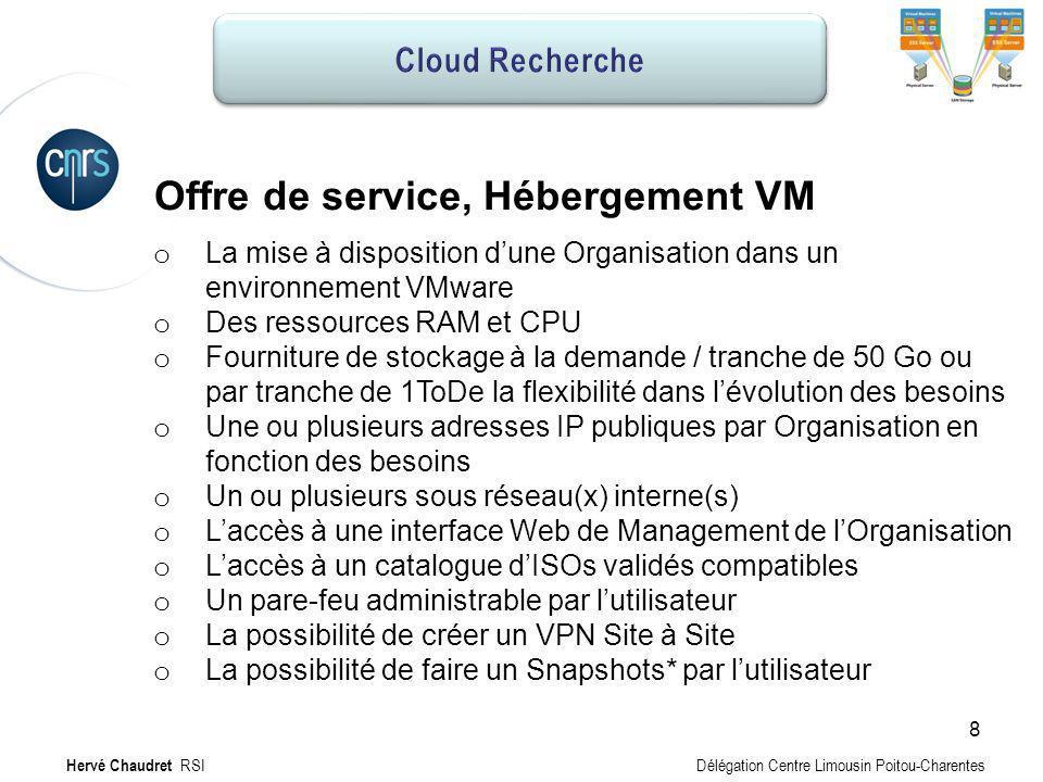 Hébergement MV : Infrastructure VMware vSphere VMware vCloud SAN Disques SATA Serveurs physiques vCenter VMware vCenter Organisation Délégation UMRxx Projet_x Hervé Chaudret RSI Délégation Centre Limousin Poitou-Charentes 9