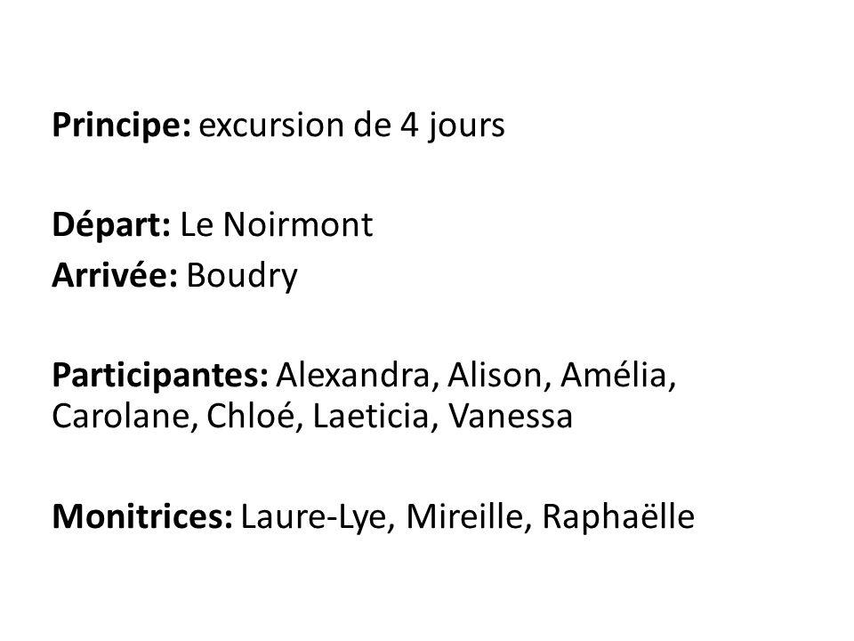 Principe: excursion de 4 jours Départ: Le Noirmont Arrivée: Boudry Participantes: Alexandra, Alison, Amélia, Carolane, Chloé, Laeticia, Vanessa Monitr
