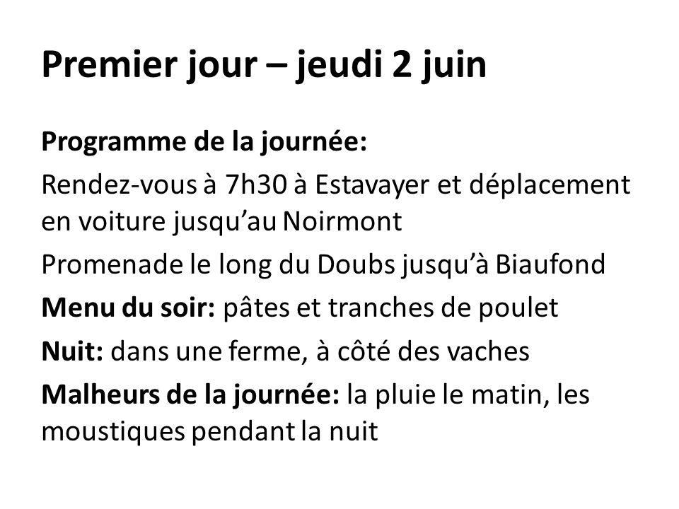 Premier jour – jeudi 2 juin Programme de la journée: Rendez-vous à 7h30 à Estavayer et déplacement en voiture jusquau Noirmont Promenade le long du Do