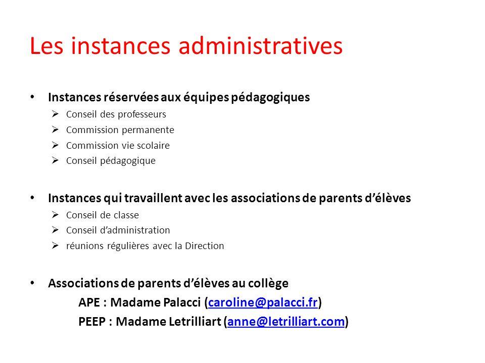 Les instances administratives Instances réservées aux équipes pédagogiques Conseil des professeurs Commission permanente Commission vie scolaire Conse