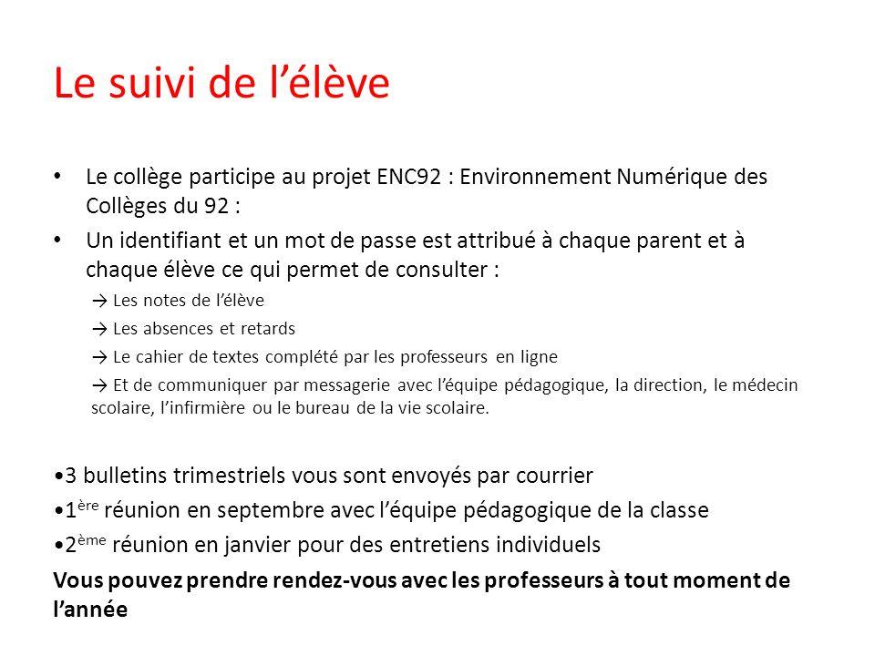 Le suivi de lélève Le collège participe au projet ENC92 : Environnement Numérique des Collèges du 92 : Un identifiant et un mot de passe est attribué