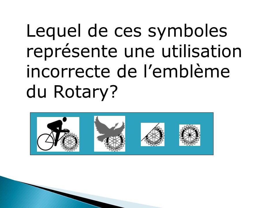 Lequel de ces symboles représente une utilisation incorrecte de lemblème du Rotary?