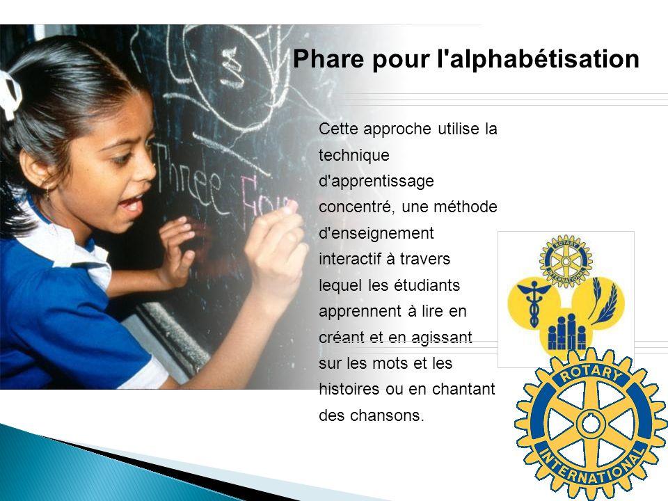 Phare pour l'alphabétisation Cette approche utilise la technique d'apprentissage concentré, une méthode d'enseignement interactif à travers lequel les
