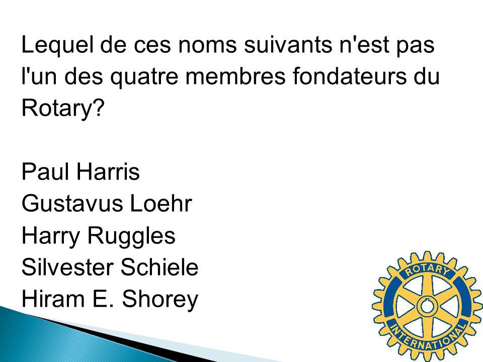 Lequel de ces noms suivants n'est pas l'un des quatre membres fondateurs du Rotary? Paul Harris Gustavus Loehr Harry Ruggles Silvester Schiele Hiram E