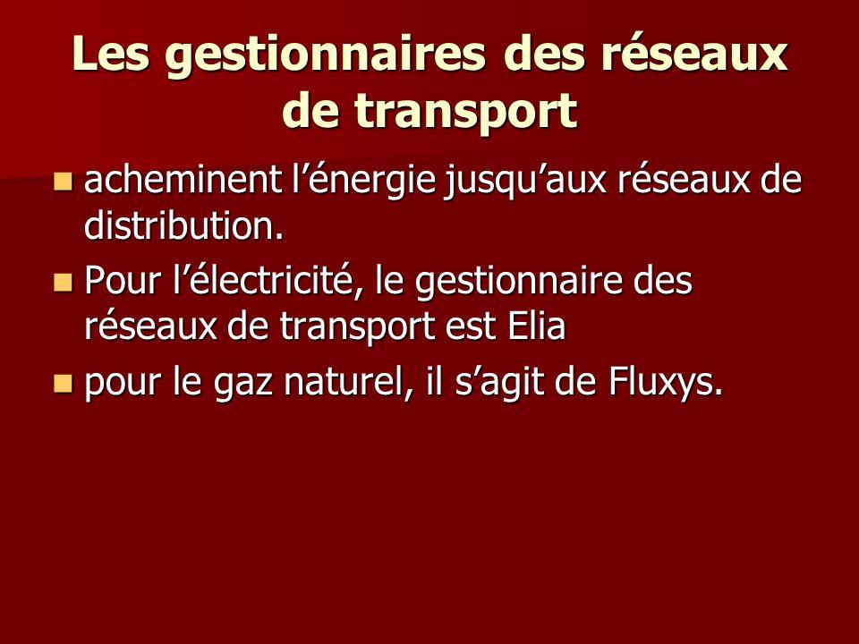 Les gestionnaires des réseaux de transport acheminent lénergie jusquaux réseaux de distribution.