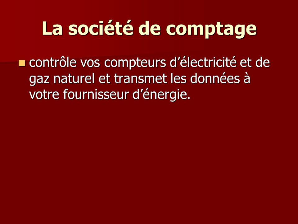 La société de comptage contrôle vos compteurs délectricité et de gaz naturel et transmet les données à votre fournisseur dénergie. contrôle vos compte