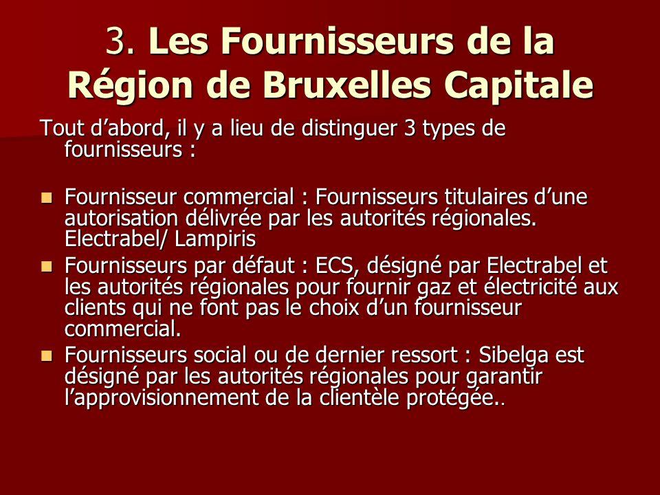 3. Les Fournisseurs de la Région de Bruxelles Capitale Tout dabord, il y a lieu de distinguer 3 types de fournisseurs : Fournisseur commercial : Fourn