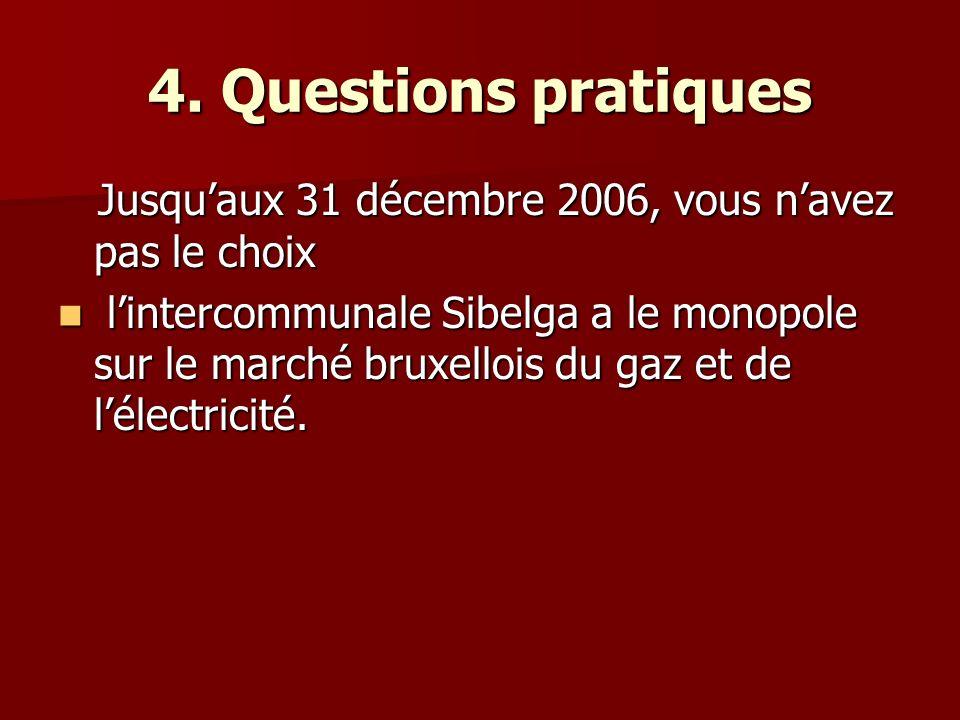 4. Questions pratiques Jusquaux 31 décembre 2006, vous navez pas le choix Jusquaux 31 décembre 2006, vous navez pas le choix lintercommunale Sibelga a
