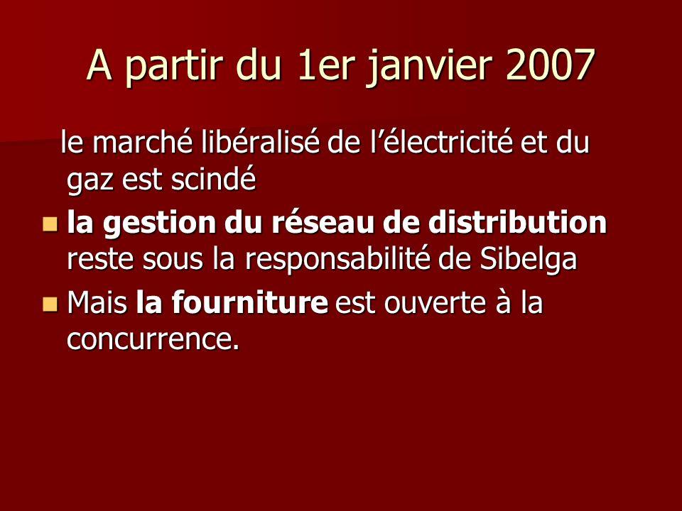 A partir du 1er janvier 2007 le marché libéralisé de lélectricité et du gaz est scindé le marché libéralisé de lélectricité et du gaz est scindé la gestion du réseau de distribution reste sous la responsabilité de Sibelga la gestion du réseau de distribution reste sous la responsabilité de Sibelga Mais la fourniture est ouverte à la concurrence.