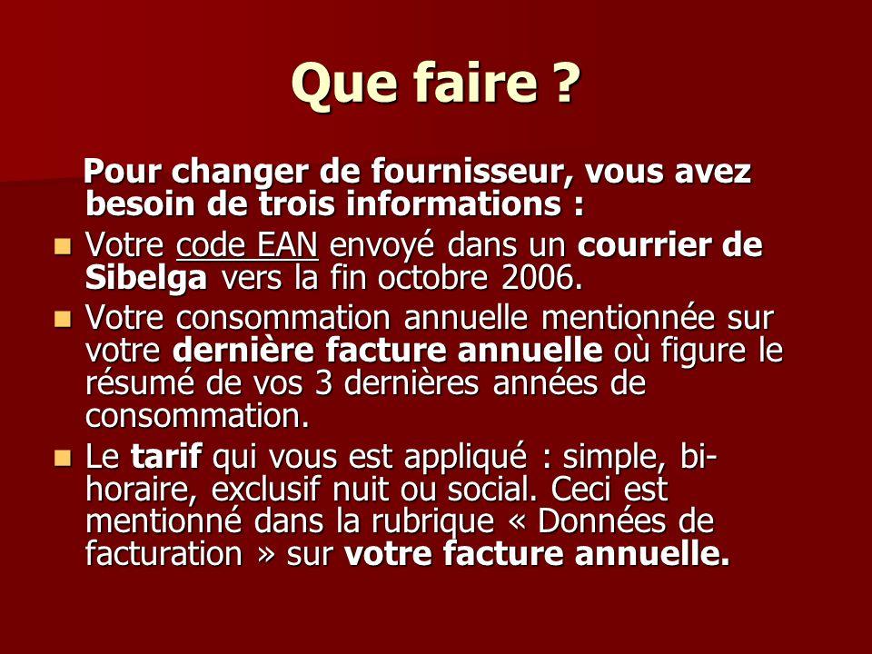 Que faire ? Pour changer de fournisseur, vous avez besoin de trois informations : Pour changer de fournisseur, vous avez besoin de trois informations