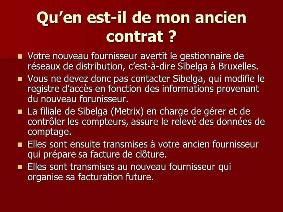 Quen est-il de mon ancien contrat ? Votre nouveau fournisseur avertit le gestionnaire de réseaux de distribution, cest-à-dire Sibelga à Bruxelles. Vot