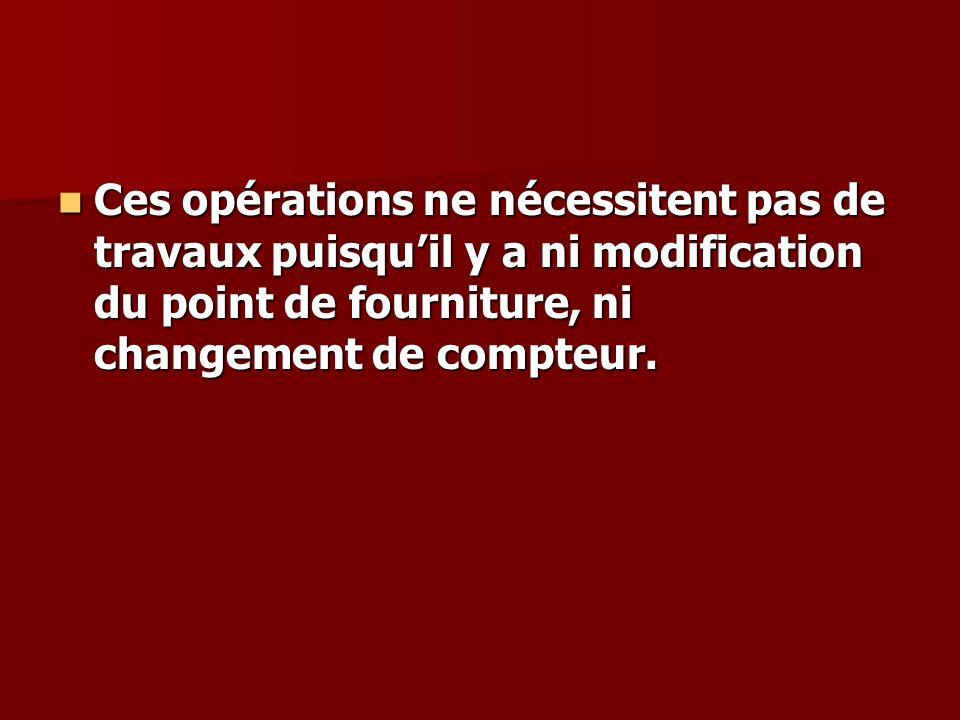 Ces opérations ne nécessitent pas de travaux puisquil y a ni modification du point de fourniture, ni changement de compteur.