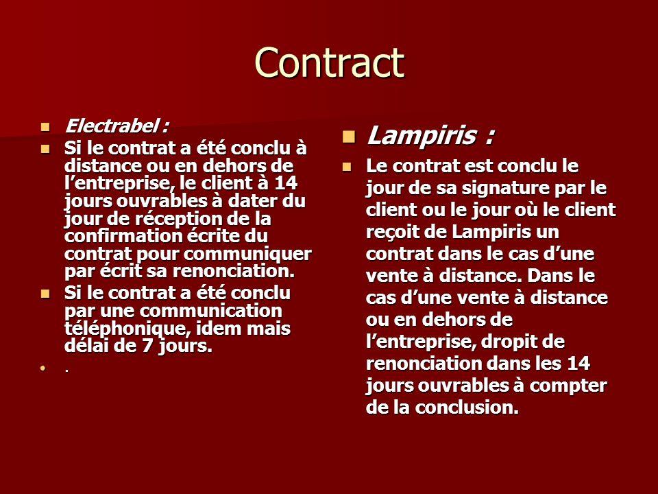 Contract Electrabel : Electrabel : Si le contrat a été conclu à distance ou en dehors de lentreprise, le client à 14 jours ouvrables à dater du jour de réception de la confirmation écrite du contrat pour communiquer par écrit sa renonciation.