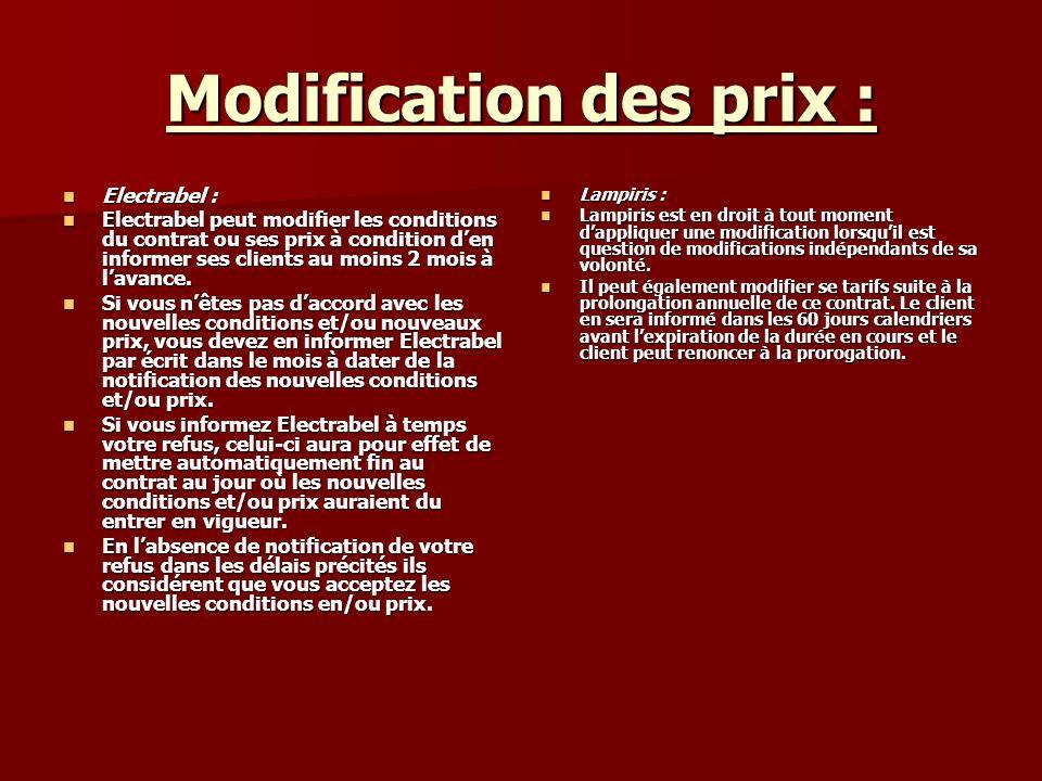 Modification des prix : Electrabel : Electrabel : Electrabel peut modifier les conditions du contrat ou ses prix à condition den informer ses clients