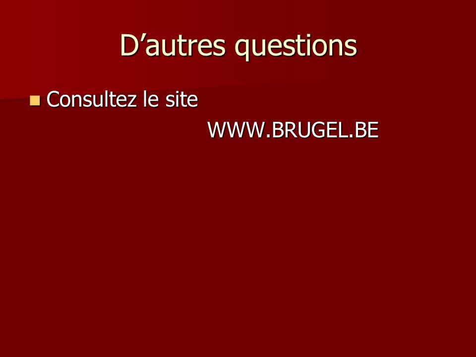 Dautres questions Consultez le site Consultez le site WWW.BRUGEL.BE WWW.BRUGEL.BE